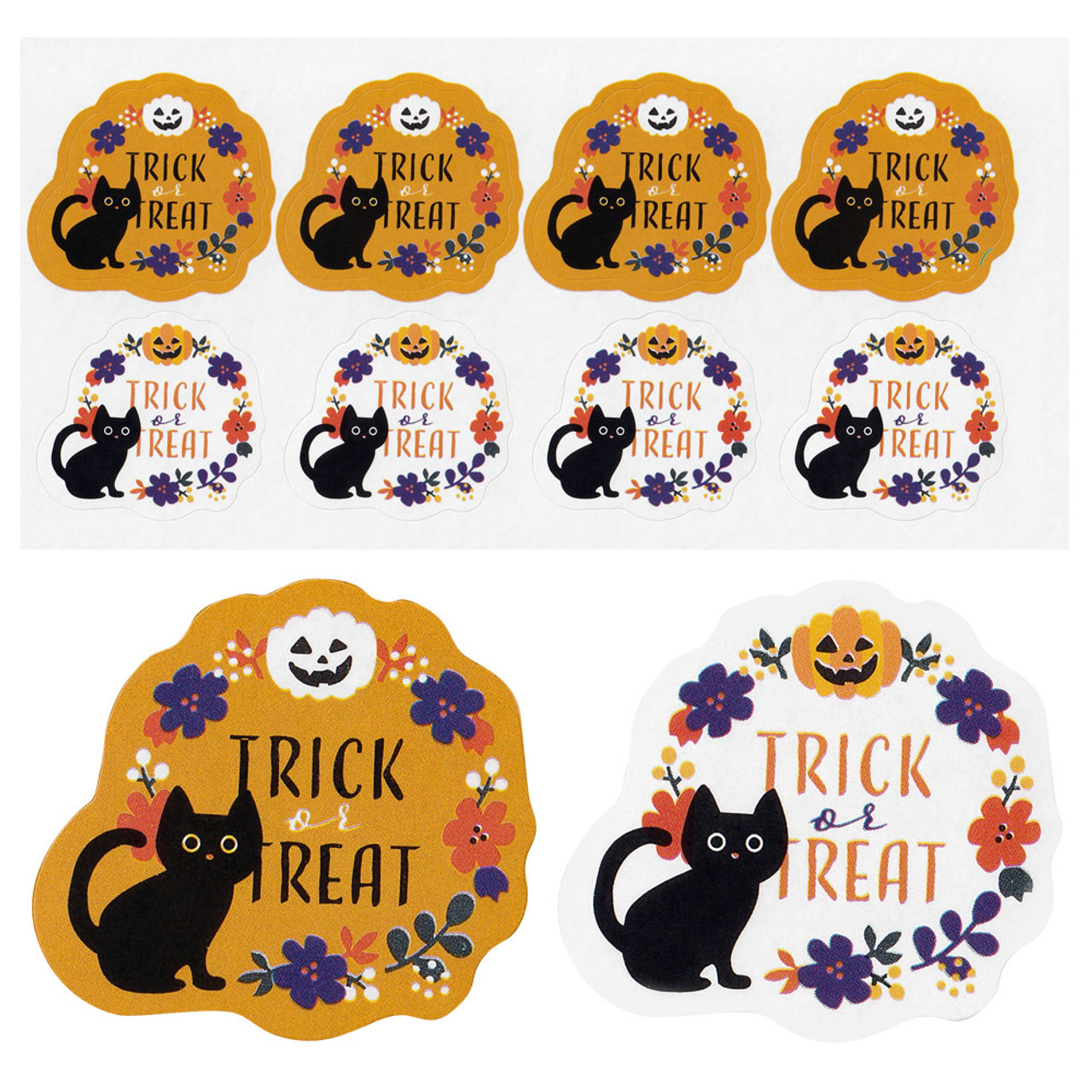 Kawaii Halloween Cat Trick And Treat Sticker 4 Sheet ( Style Close-up )