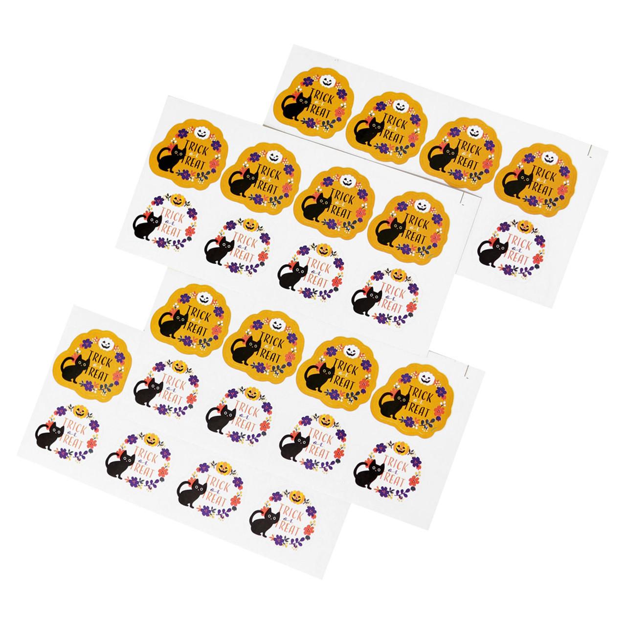 Kawaii Halloween Cat Trick And Treat Sticker 4 Sheet ( Include 4 Sticker Sheet )