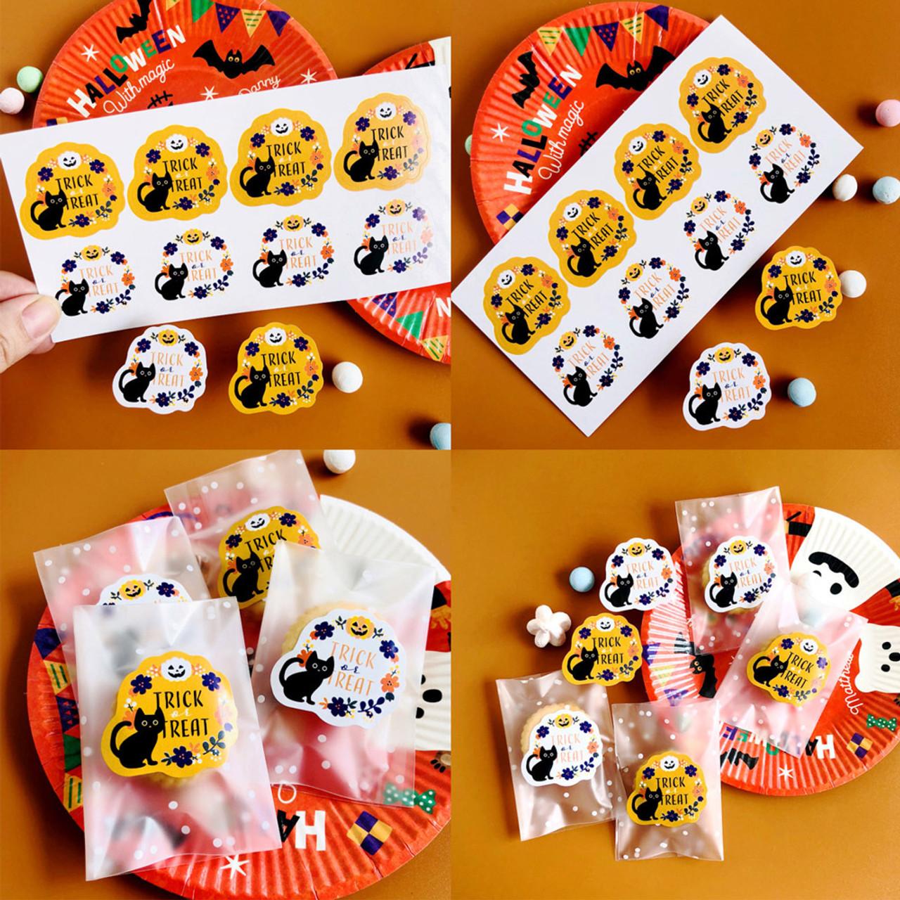 Kawaii Halloween Cat Trick And Treat Sticker 4 Sheet ( Mood Shot )