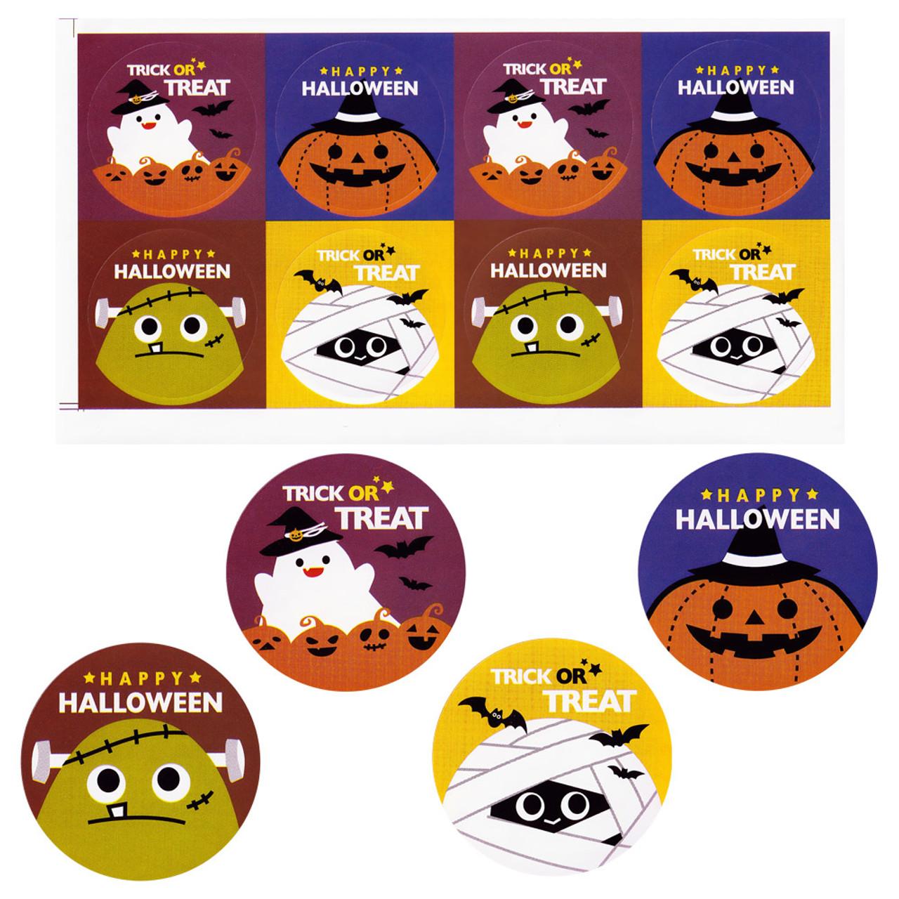 Kawaii Happy Halloween Characters Sticker 4 Sheet ( Each Sticker Present )