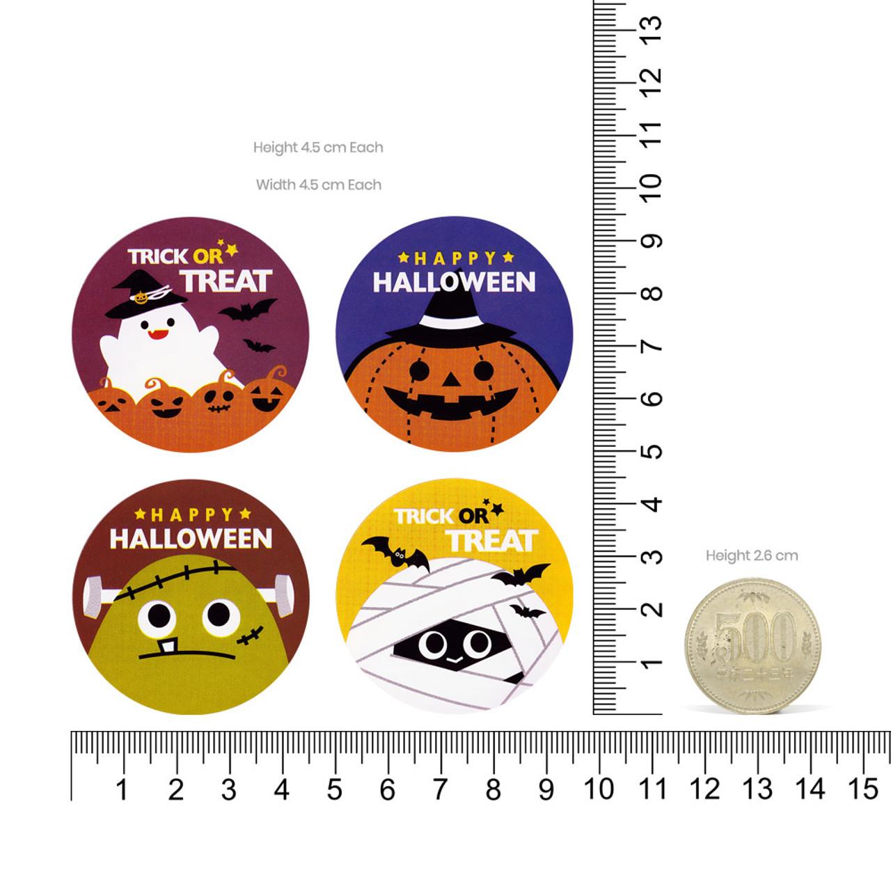 Kawaii Happy Halloween Characters Sticker 4 Sheet ( Proportion )