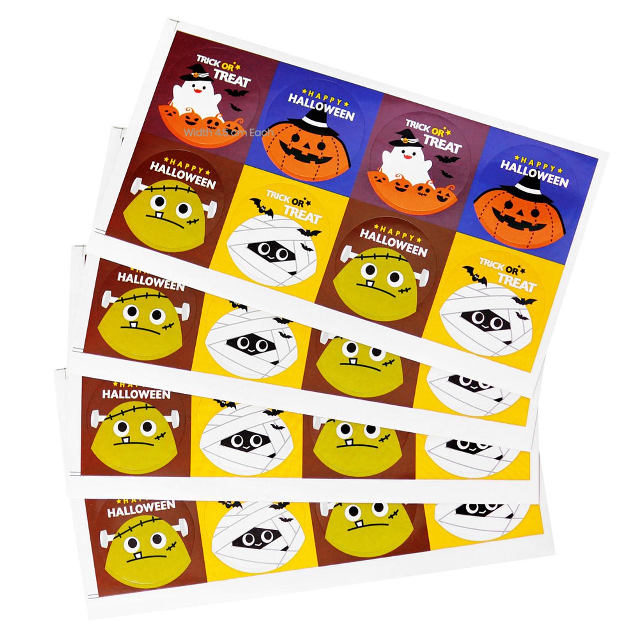 Kawaii Happy Halloween Characters Sticker 4 Sheet ( Include 4 Sticker Sheet )