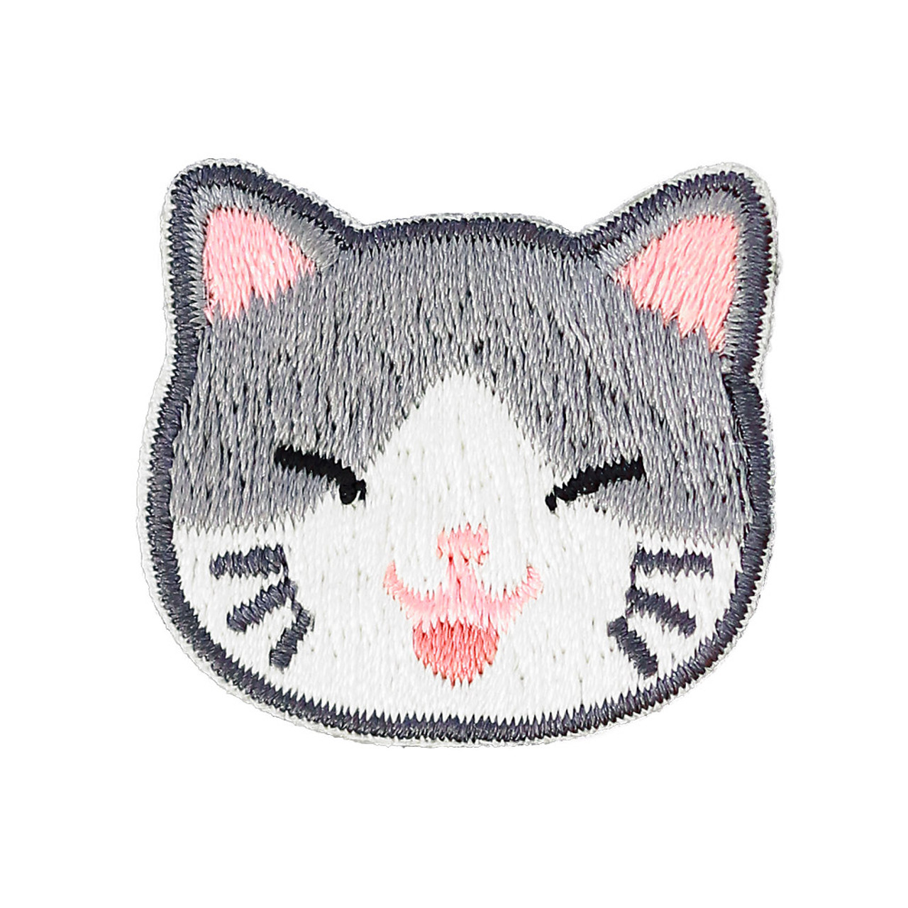 Cats Family Grey Cat Iron On Patch ( Front View )