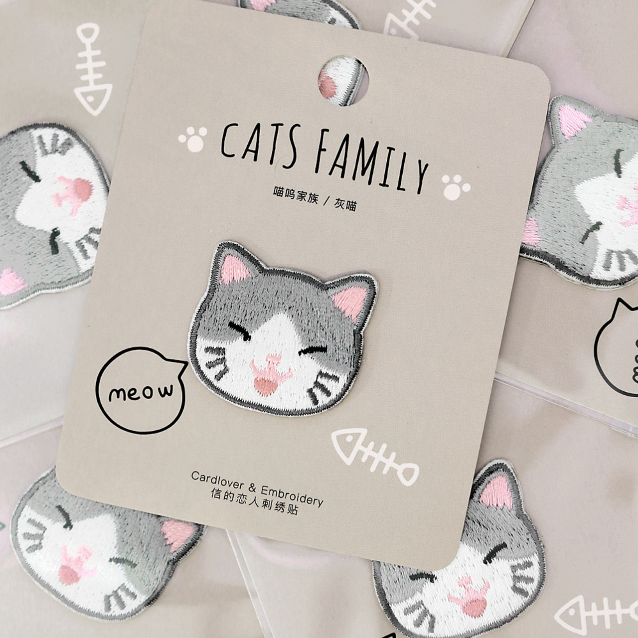 Cats Family Grey Cat Iron On Patch ( Mood Shot )