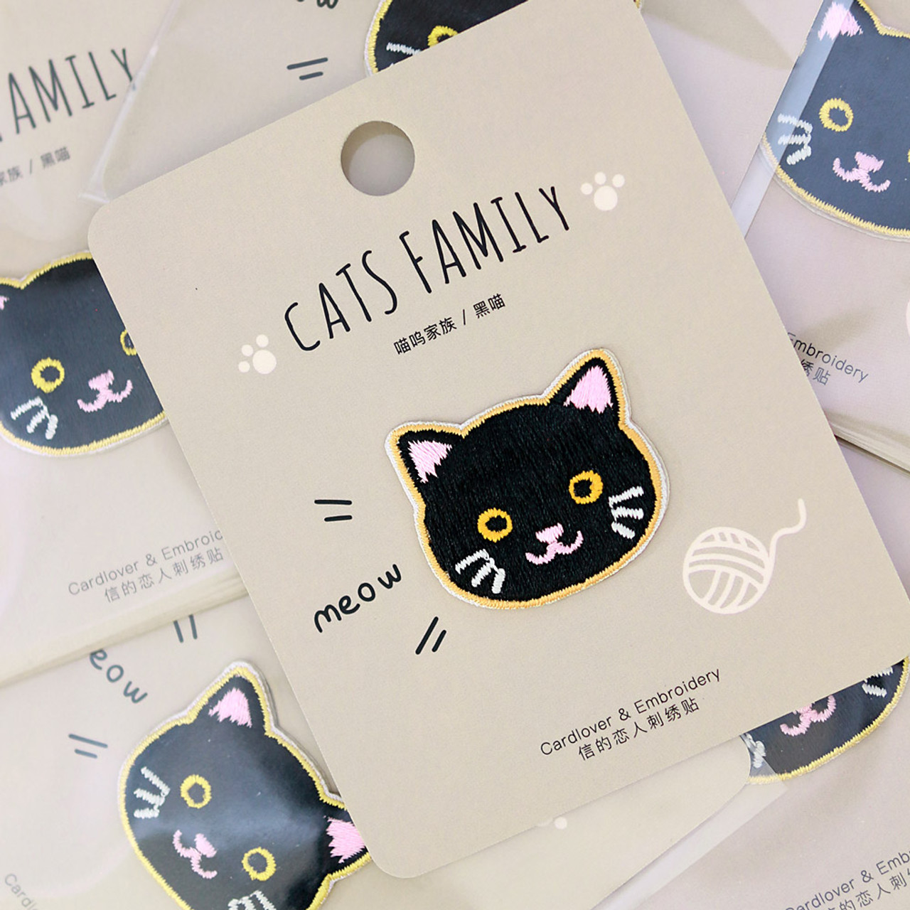 Cats Family Black Cat Iron On Patch ( Mood Shot )