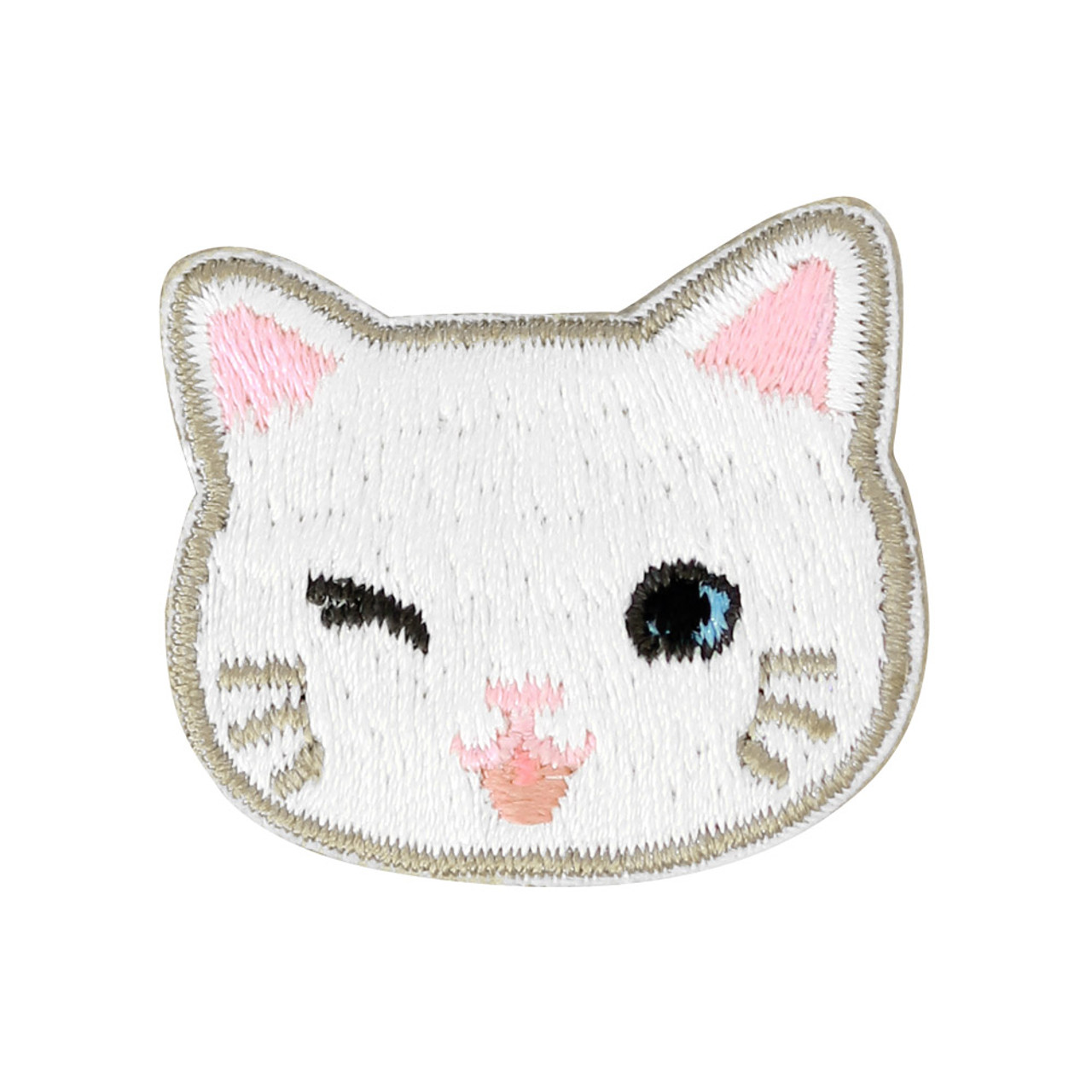 Cats Family White Cat Iron On Patch ( Front View )