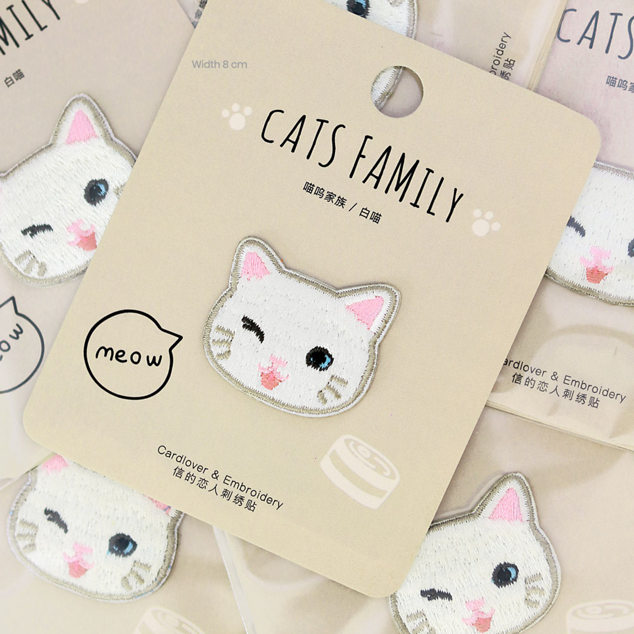 Cats Family White Cat Iron On Patch ( Mood Shot )