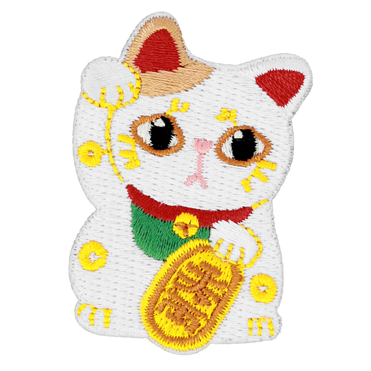 Kawaii Lucky Cat Iron On Patch ( Front View )