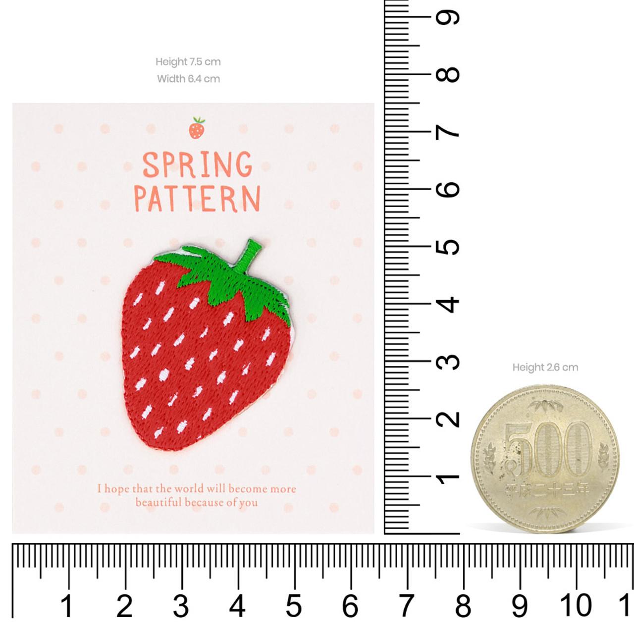 Kawaii Spring Season Strawberry Iron On Patch ( Proportion )