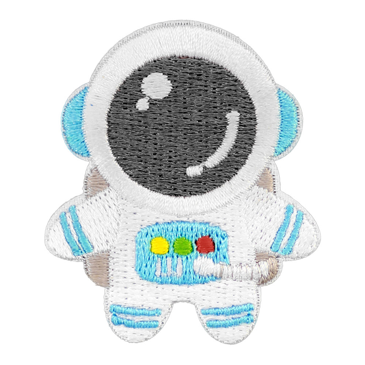 Kawaii Blue Color Astronaut In Space Iron On Patch ( Front View )