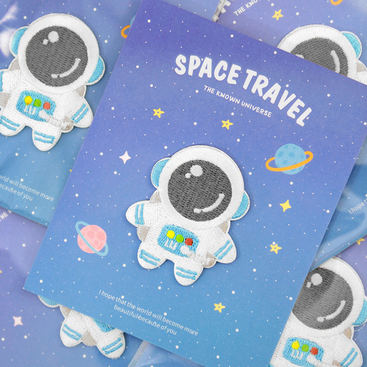 Kawaii Blue Color Astronaut In Space Iron On Patch ( Mood Shot )