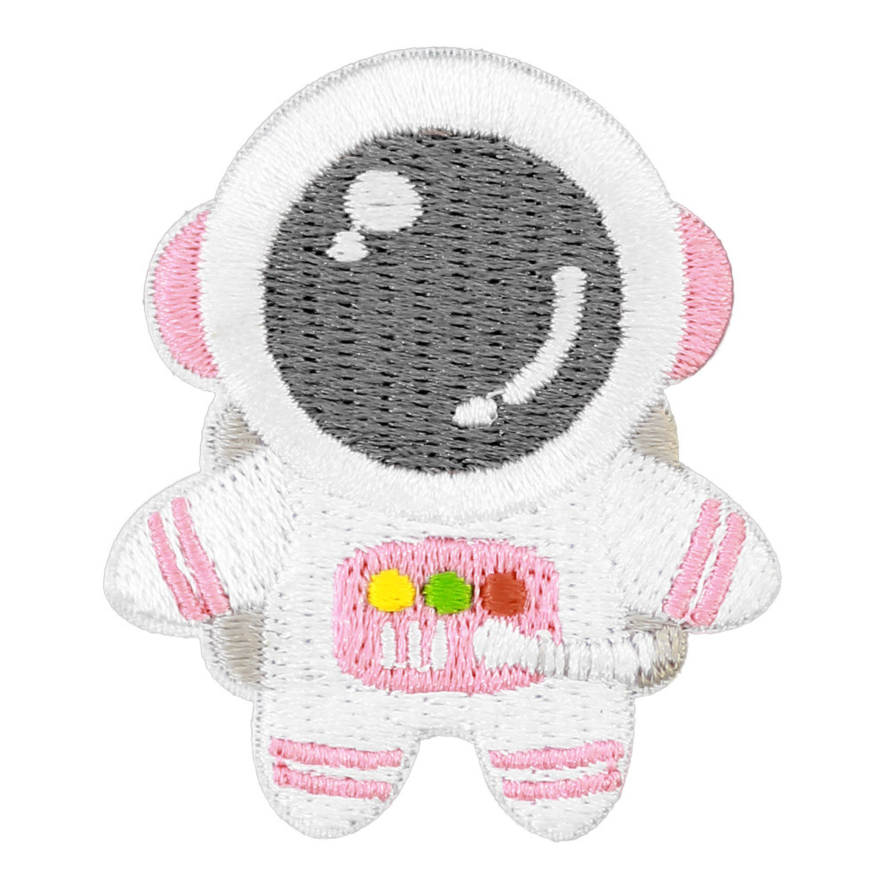 Kawaii Pink Color Astronaut In Space Iron On Patch ( Front View )