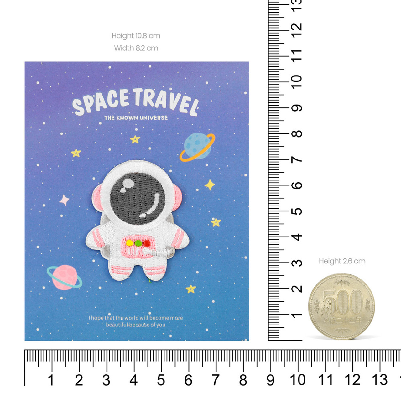Kawaii Pink Color Astronaut In Space Iron On Patch ( Proportion )