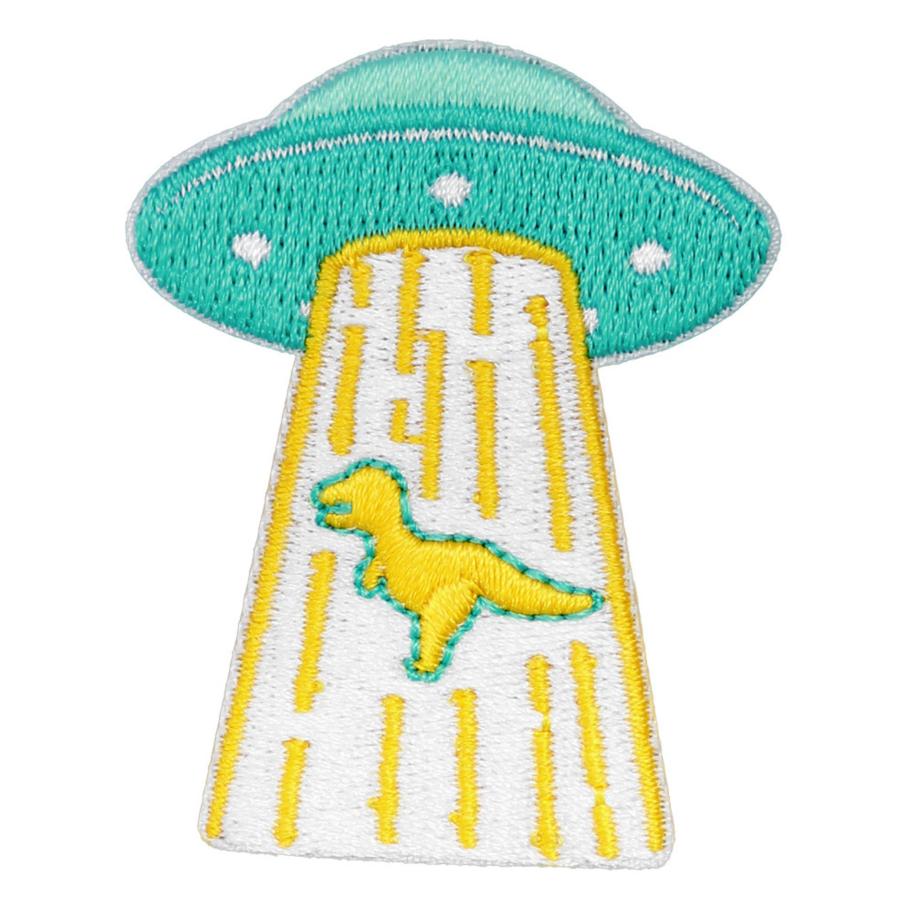 Kawaii Cyan Color UFO Capturing Dinosaur Iron On Patch ( Front View )