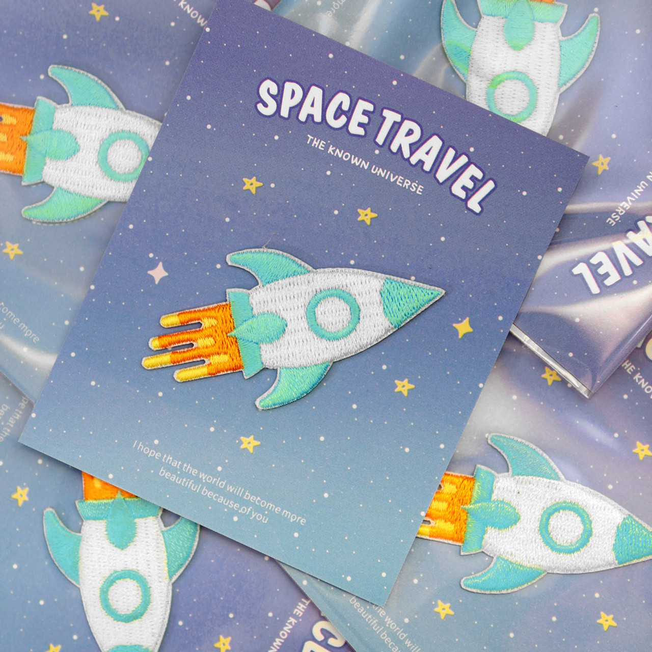 Kawaii Cyan Color Rocket Flying In Universe Iron On Patch ( Mood Shot )