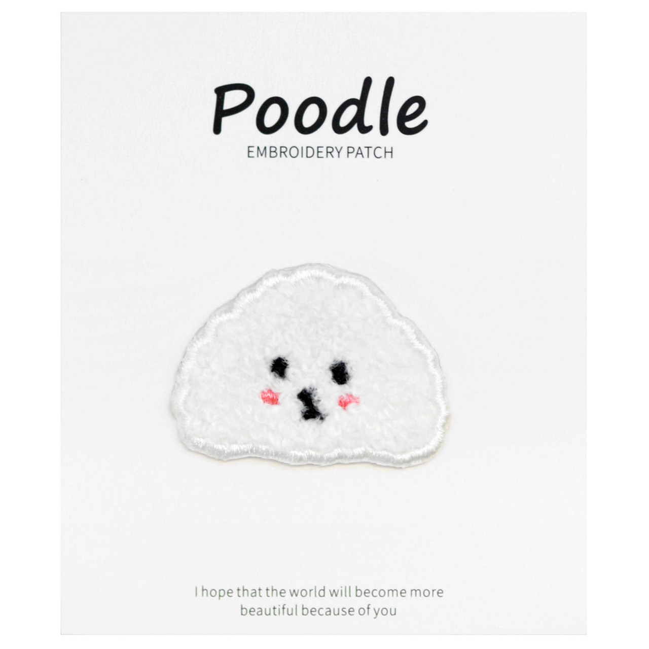 Kawaii White Poodle Dog Iron On Patch ( Cover )