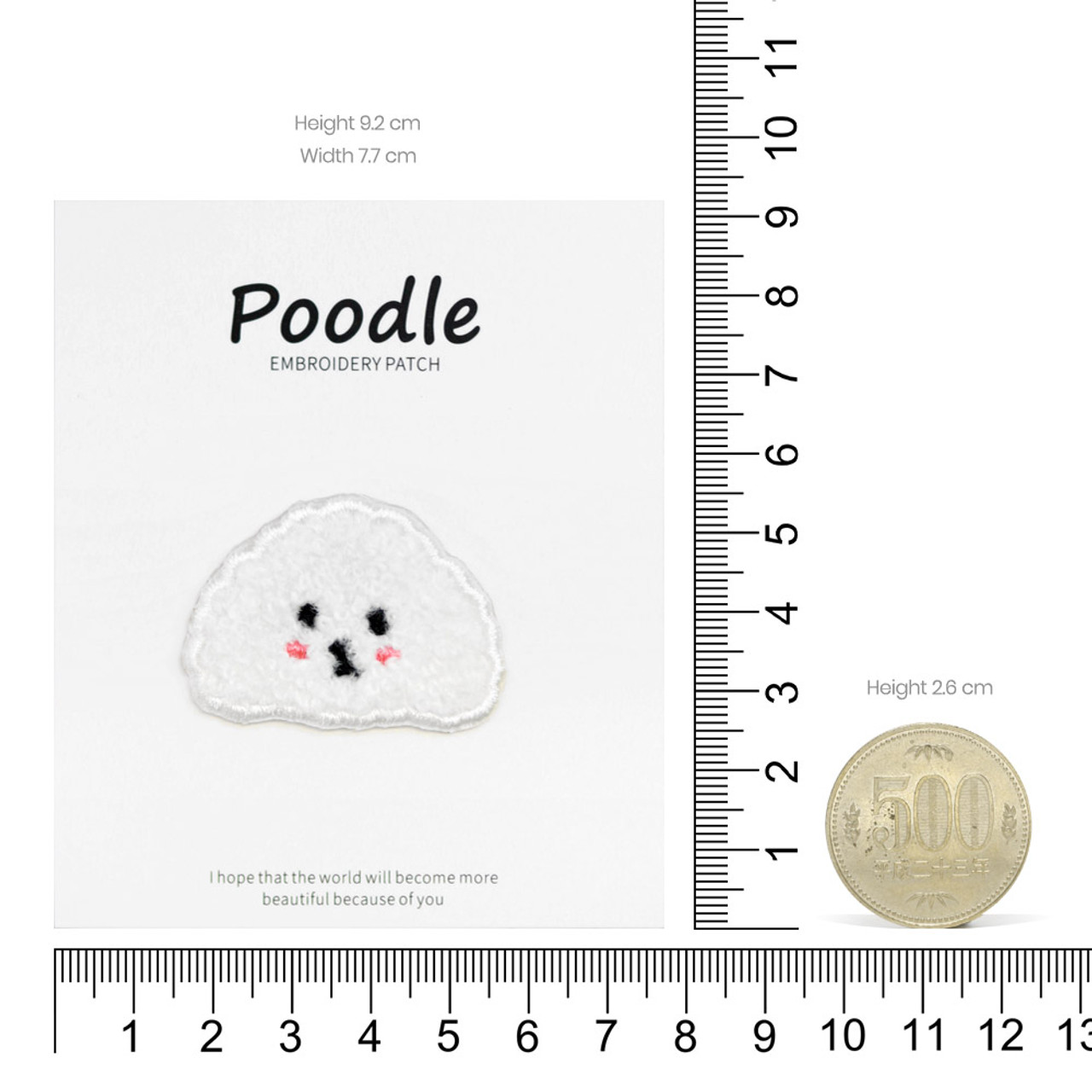 Kawaii White Poodle Dog Iron On Patch ( Proportion )