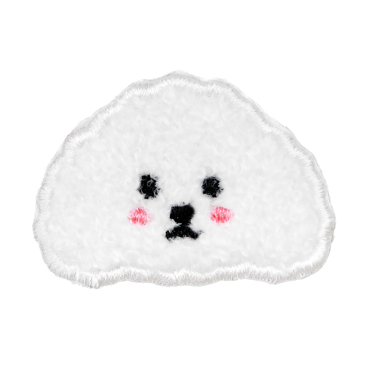 Kawaii White Poodle Dog Iron On Patch ( Front view )