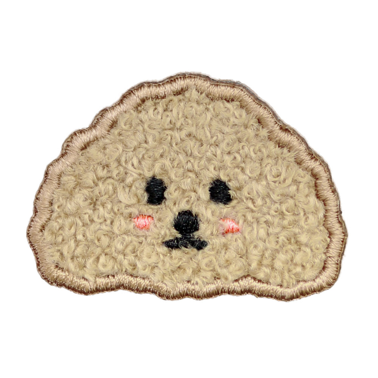 Kawaii light brown Poodle Dog Iron On Patch ( Front View )