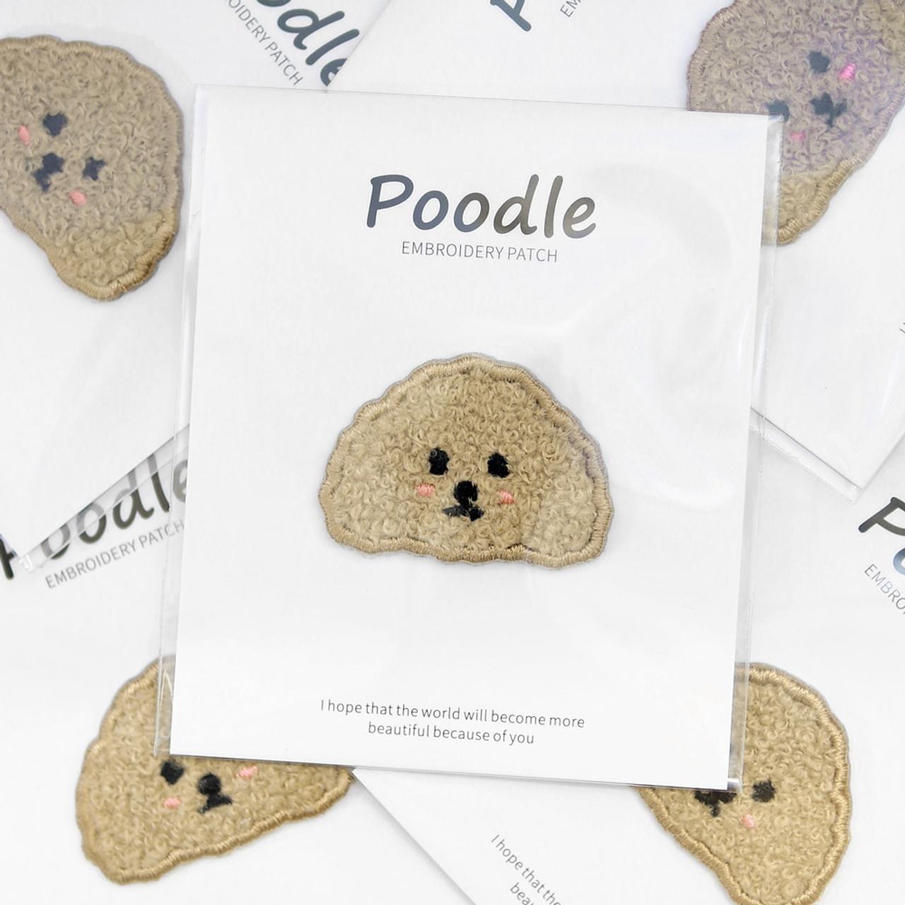 Kawaii light brown Poodle Dog Iron On Patch ( Mood Shot )