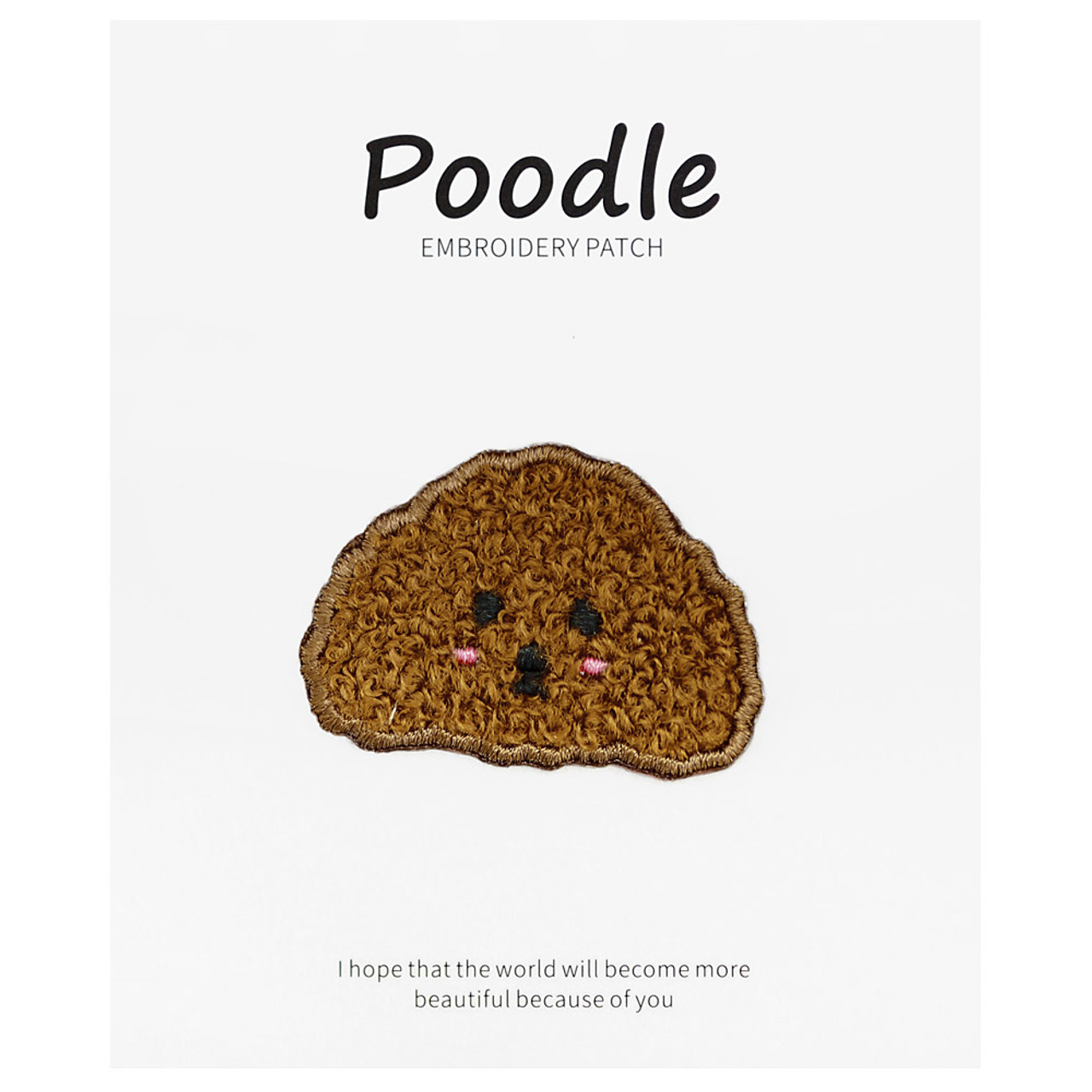 Kawaii Dark brown Poodle Dog Iron On Patch ( Cover )