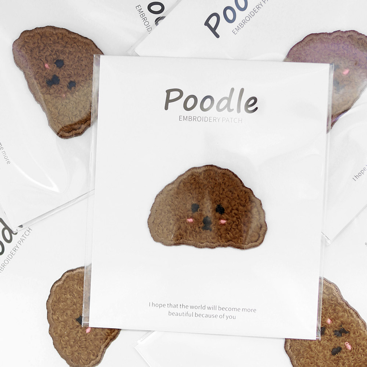 Kawaii Dark brown Poodle Dog Iron On Patch ( Mood Shot )