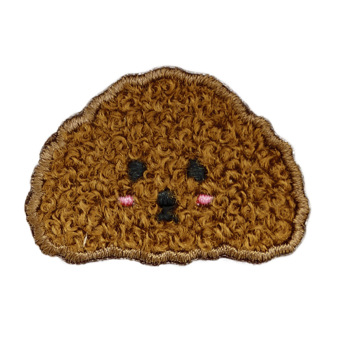 Kawaii Dark brown Poodle Dog Iron On Patch ( Front view )