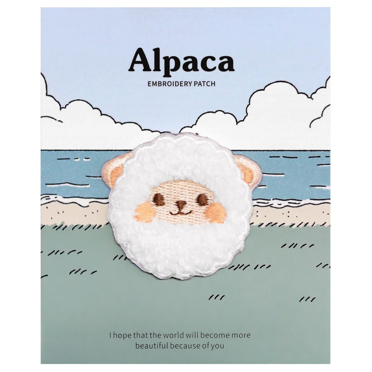 Kawaii White Round Alpaca Animal Iron On Patch ( Cover )