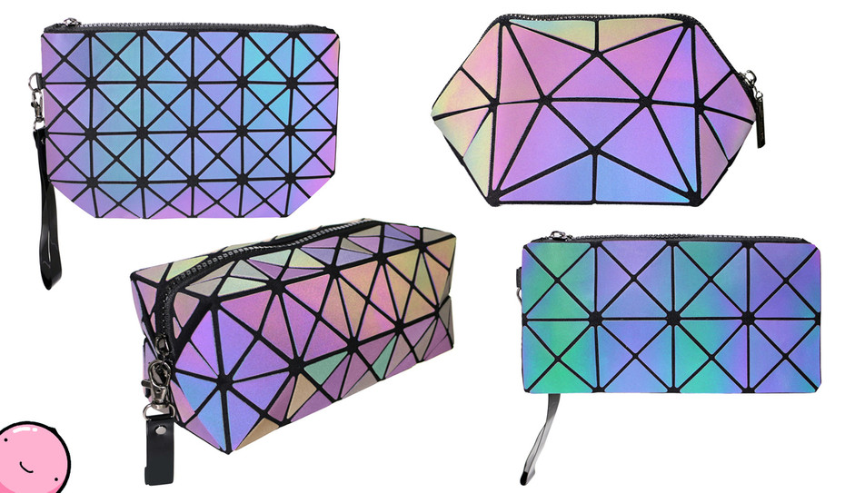 Color Change Rainbow Geometric as Lattice Cosmetic Pouch