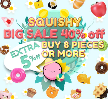 40% off on all squishy items & extra 5% off buy 8 pcs or more