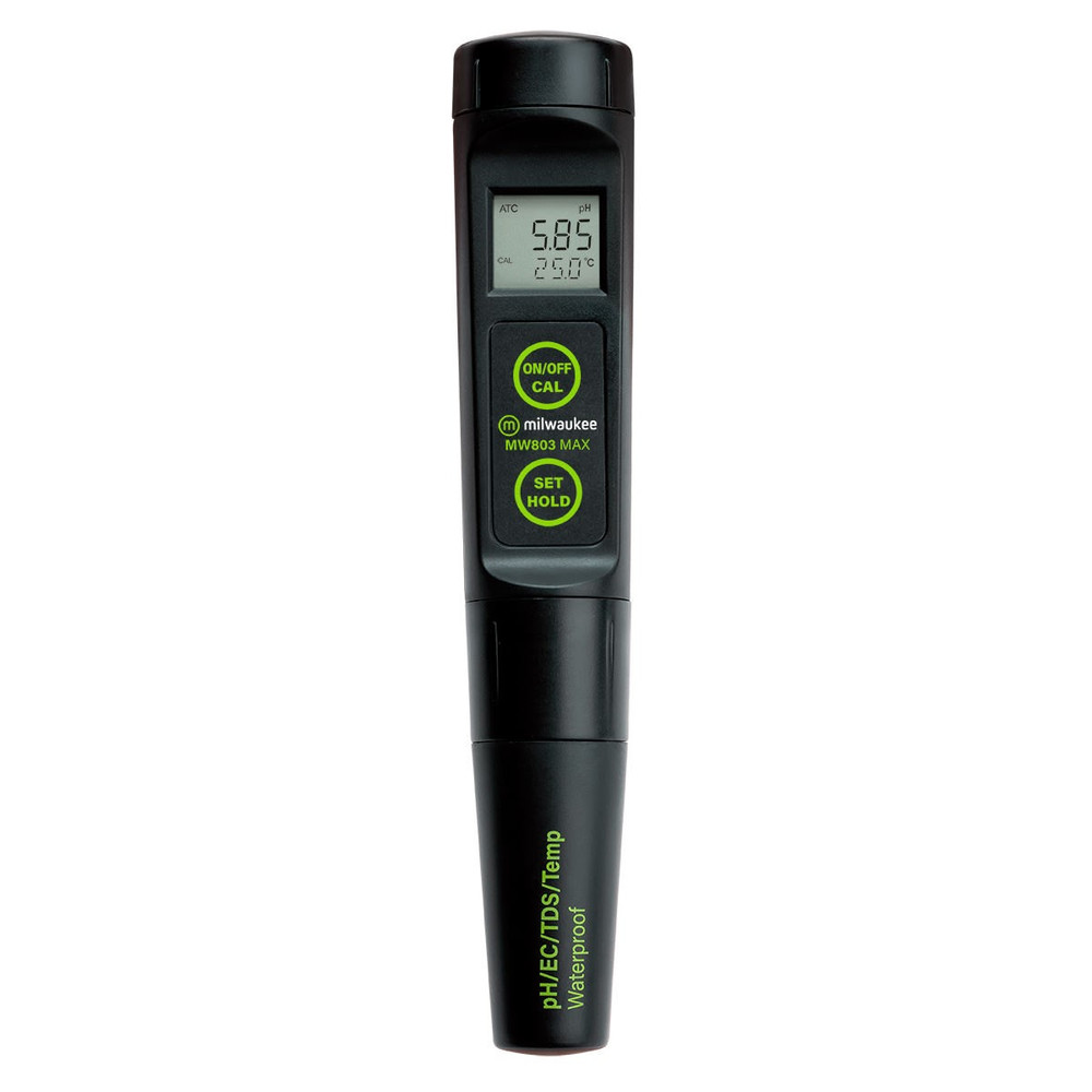 Milwaukee MW803 MAX Waterproof Low Range 4-in-1 pH / EC / TDS/Temp Tester with Replaceable Probe