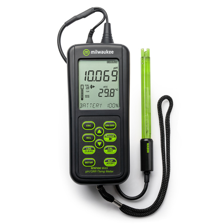 Milwaukee MW106 MAX Waterproof pH/ORP/Temp Logging Portable Meter