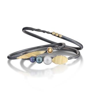 Black Twig Pearl Bracelets handmade from oxidized sterling silver and 18 Karat gold bimetal, Art Jewelry by Christine Mackellar
