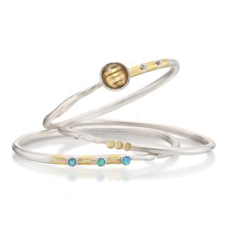 White Twig Bracelets, Handmade Art Jewelry by Christine Mackellar