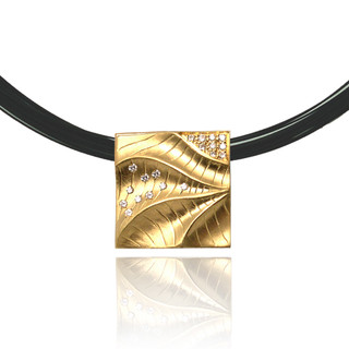 Sand Dune Square Pendant, Yellow Gold, Fine Art Jewelry by Keiko Mita