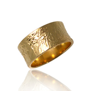 Washi Wide Concaved Band Ring, Yellow Gold, Modern Jewelry