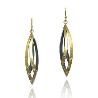 Moire Willow Leaf Earrings, Modern Jewelry by Keiko Mita