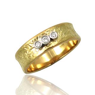 Washi Three stones Concave Band Ring, Modern Jewelry by Keiko Mita