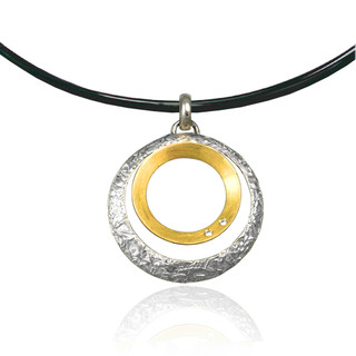 Washi Double Circle Pendant, Modern Jewelry by Keiko Mita