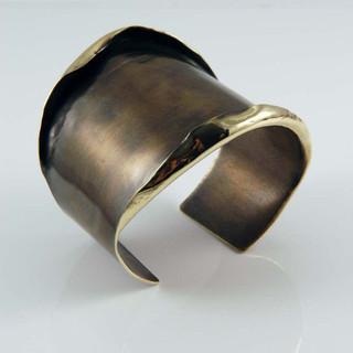 Patina Finished Brass Wilted Cuff | Art Jewelry by Mia Hebib