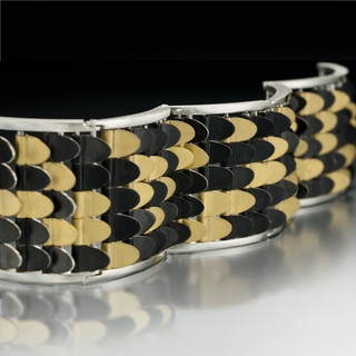 Contemporary Fishscale Bracelet by Samantha Freeman | Sterling Silver and 24 Karat Gold Vermeil