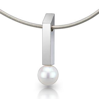 Rectangular Bar White Pearl Pendant, Contemporary Jewelry by Estelle Vernon