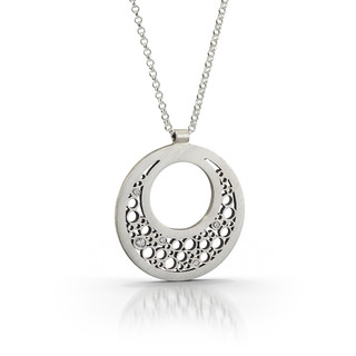 Large Half Moon Pendant Handmade by Contemporary Jewelry Artist Belle Brooke Barer   Sterling Silver and Diamonds