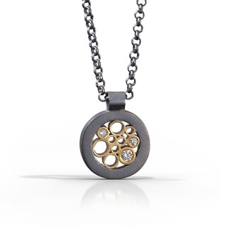 Petite Circle Pendant handmade by contemporary jewelry artist Belle Brooke Barer   Sterling silver and gold   Diamonds