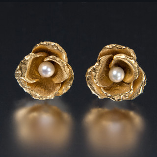 Carol Salisbury's One-of-a-Kind Rosebud and Pearl Earrings   Handmade Designer Jewelry