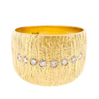 Anit Dodhia's Flare Ring | 18 Karat Yellow Gold and 0.16 Carat White Diamonds | Maya Collection