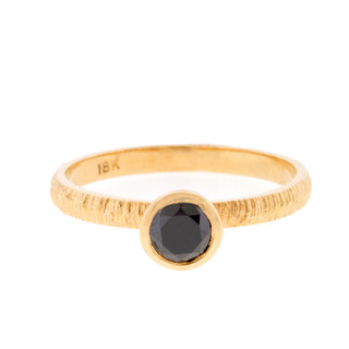 Anit Dodhia's Equinox Jet Black Diamond Stacking Ring   18k Yellow Gold with a 0.40-0.45ct Black Diamond and Textured Finish   Maya Collection