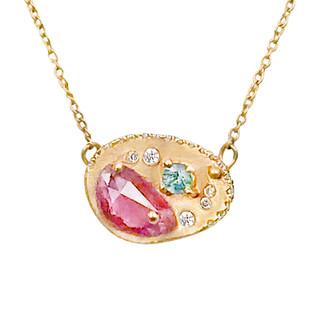Huan Wang's Dahlia Pendant Necklace   Yellow Gold   Sapphires and Diamonds