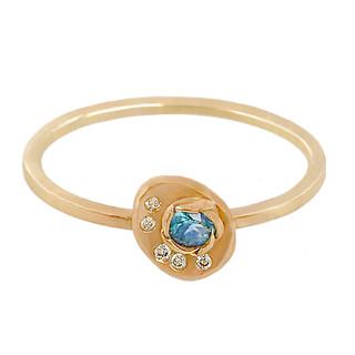 Huan Wang's Camelia Gold Chip Ring   Yellow Gold   Diamonds