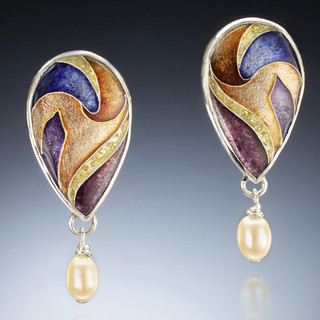 Princess Earrings by Sheila Beatty | Fine Silver Cloisonne Enamel | Sterling Silver and 14 Karat Yellow Gold | Fresh Water Pearls